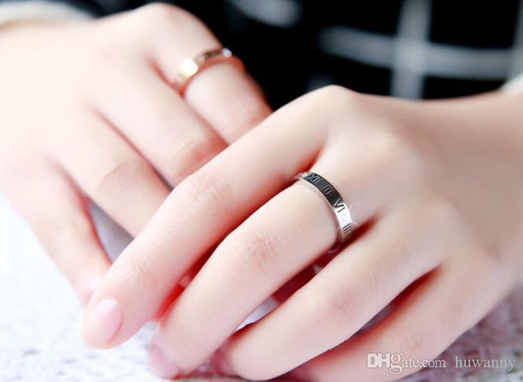 Silver Rings Hot Sale Inlay CZ Diamond Rome Number Stainless steel Rings For Women Girl Party Fashion Jewelry Wholesale 0307WH