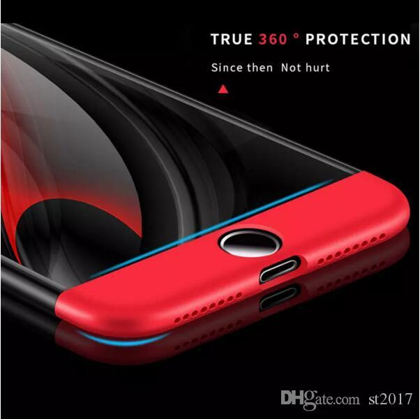 360 Degree Phone Case 3 in 1 Matte Frosted Hybrid Slim Shockproof Full Body Back Cover For iPhone X 8 7 6 6S Plus Samsung S7 edge S8 DHL