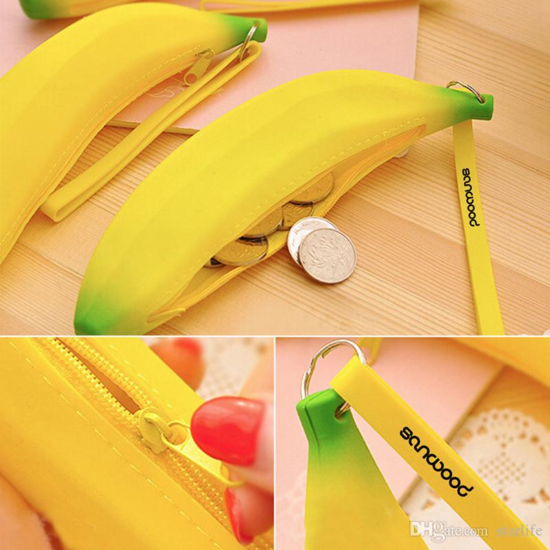 Cute Silicone Coin Purse Banana Little Wallet Student Holding Coin Small Wallet Hobos Bags For Student&Women&Girls