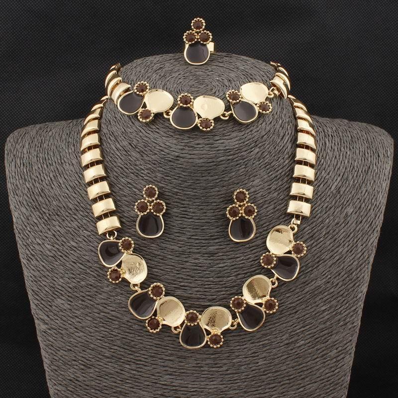 Бесплатная доставка 18 к позолоченные ожерелье браслет кольцо серьги ювелирные наборы для женщин свадьба подарки Оптовая горячая продажа