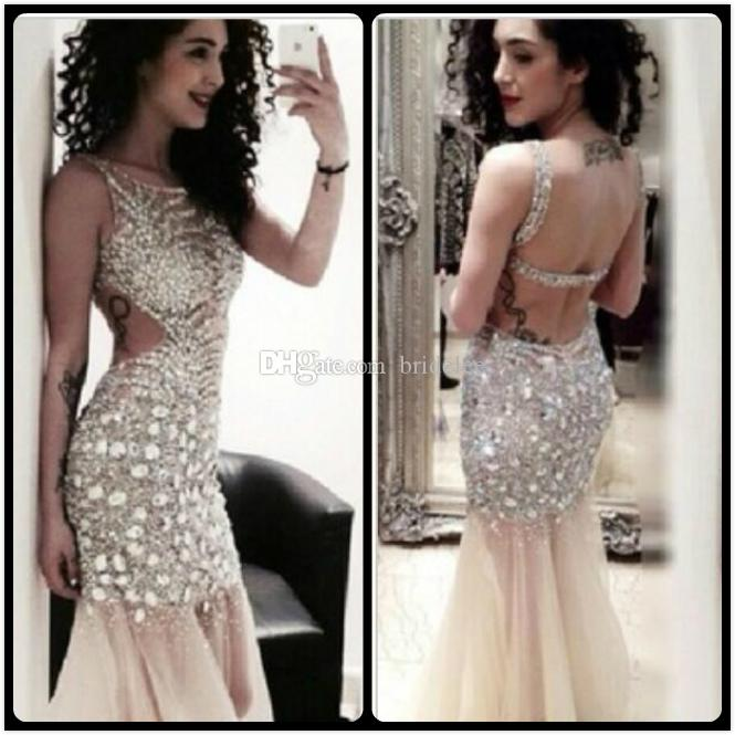 Sparkly 2016 Luxury Crystal Champagne Prom Dresses Sheer Mermaid ...