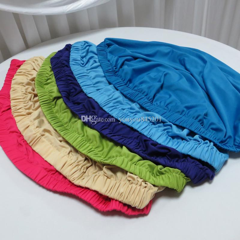 Various Color Spandex Table Cover 60/70/80/90cm Round Topper/Stretch Cocktail Table Cover Cap A Wiith