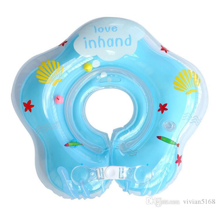 Círculo inflable ajustable de es Nacido bebé recién nacido Cuello Anillo de natación del bebé Anillo flotante Seguridad Doble protección para 0-18 meses