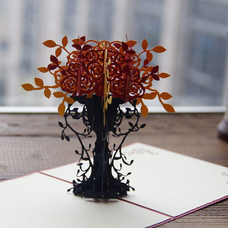 Handmade 3D Post Cards Pop Up Custom Cubic Greeting With Flower Tree Design Birthday Gift Card Free DHL Online
