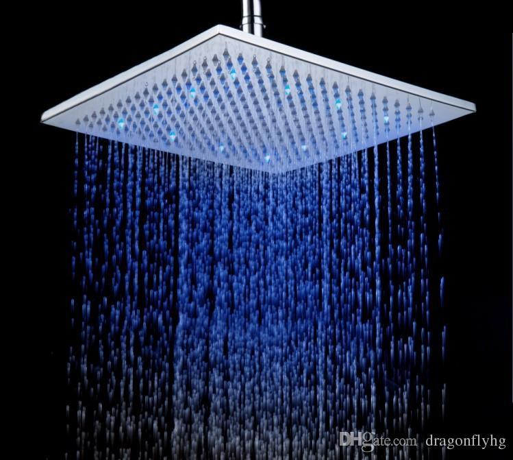 2019 12 Inch Brushed Nickel Led Rain Shower Head Rgb Changing