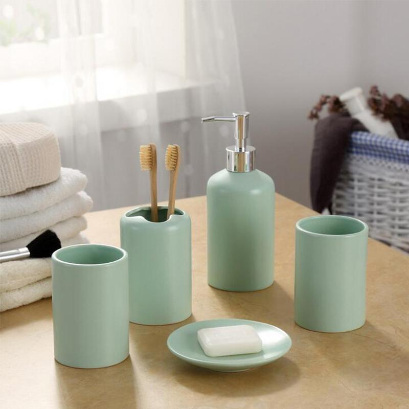 2019 Green Five Piece Set Ceramic Bathroom Accessories Set Bottle