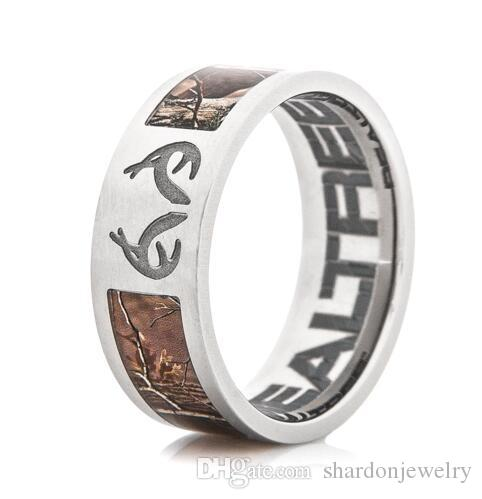 s rings inlay titanium antler wedding men ring buzz deer
