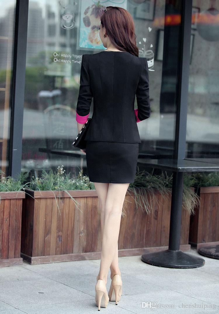 New One Button Regular Women Elegant Spring Business Working Skirt Suits Formal Ladies Top And Skirt Set Office Uniform