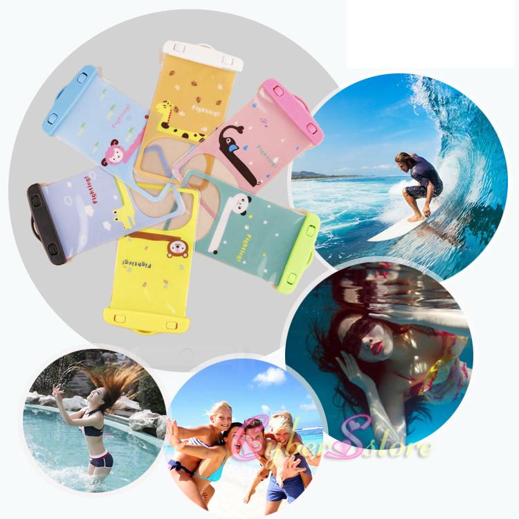For iphone 6 Universal Cartoon Clear View Waterproof Case Cover Bag Water Proof Diving Underwater Pouch For i6 6plus Samsung S6 Edge