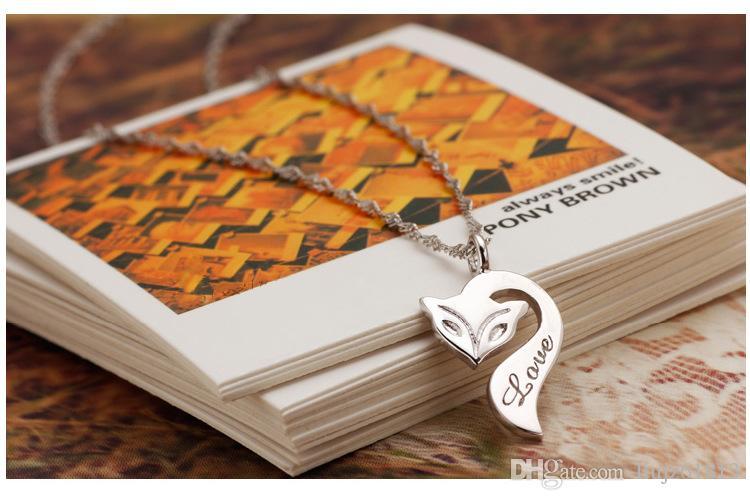 Fashion Lady gioielli in argento sterling 925 animale Firefox Fox Love Letter Collana pendente le donne regalo