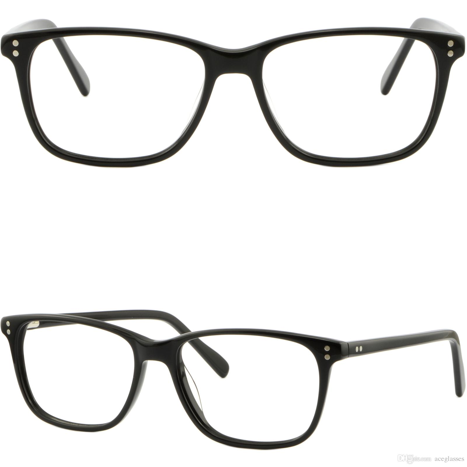 4f35bb4526 Men Women Acetate Frame Prescription Glasses Spring Hinges Rectangle Shiny  Black Glasses Frame Online with  43.06 Piece on Aceglasses s Store