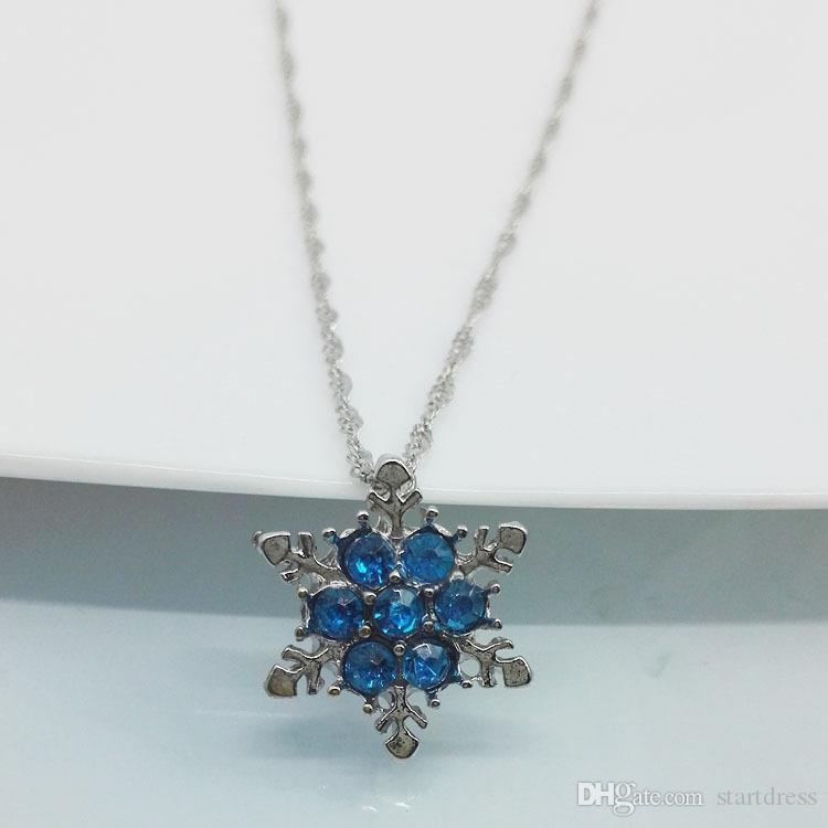 Luxury Pendant Jewelry Bridal Necklaces Charm Snowflake Crystal Silver Plated Necklace For ladies At The Wedding