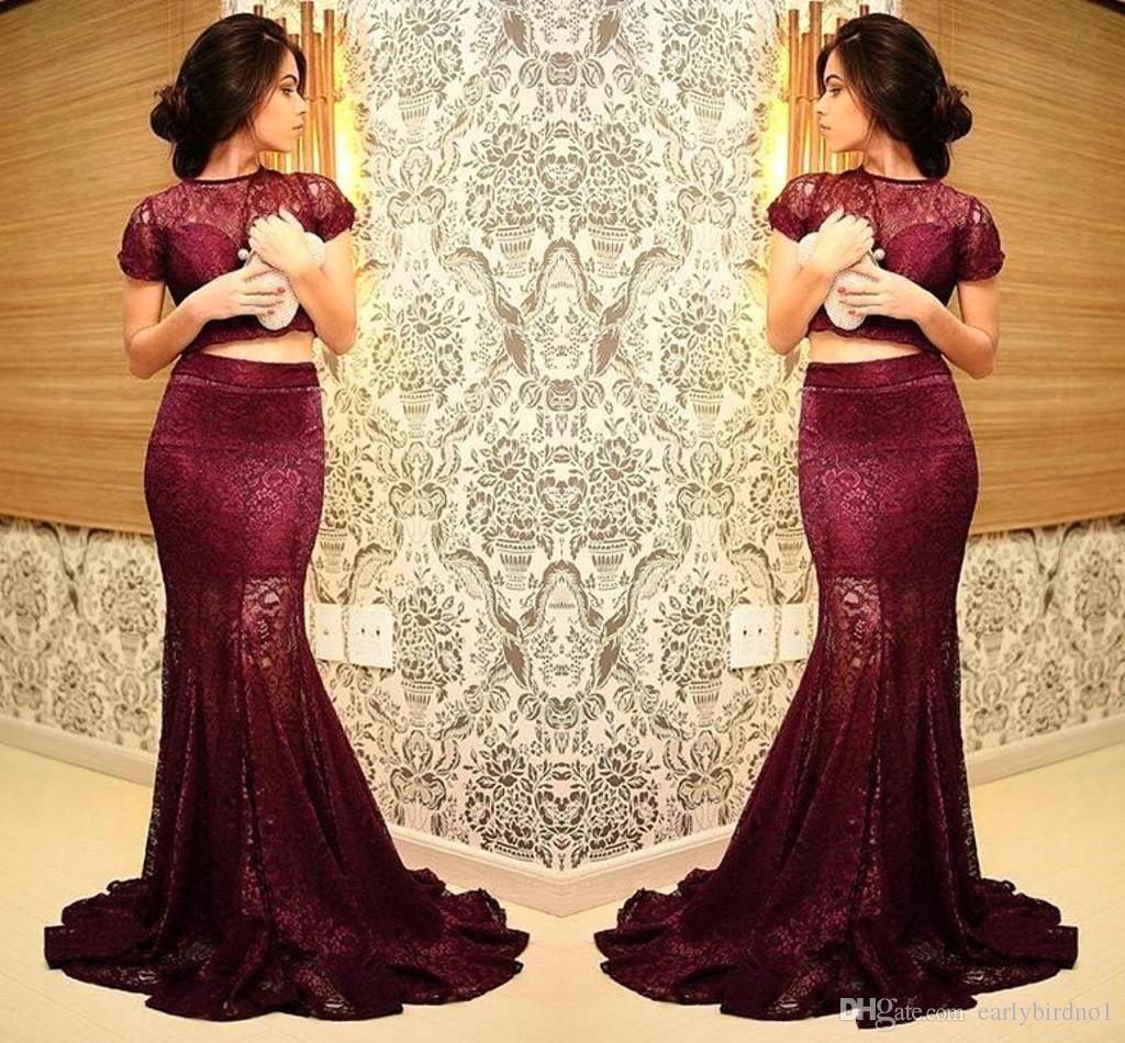 Two Pieces Burgundy Prom Dresses 2017 Cap Sleeve Mermaid Long ...