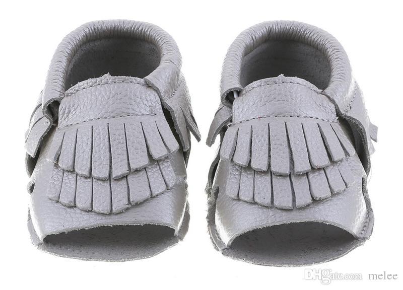 nuovo in vera pelle bambino open toe mocassions bambino mocassini nappe stivale di avvio infantile in pelle di mucca 2layer nappa scarpe da passeggio