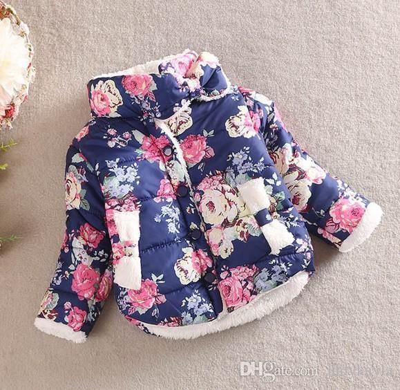 Muchacha de la capa de la flor de impresión de invierno niños abrigos de algodón espesar Agregar lana de felpa cuello alto bebé niños Outwear Fit 2-6 edad WD383