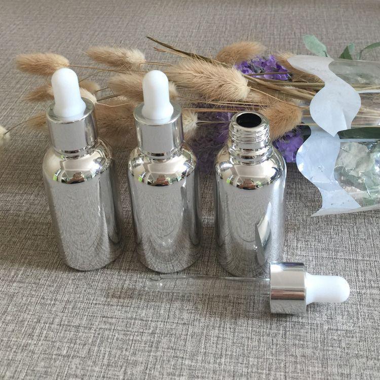botellas de cuentagotas de plata de alto grado 30ml, botellas de cuentagotas de 1 oz para aceites esenciales, botella de vidrio con tapa de cuentagotas