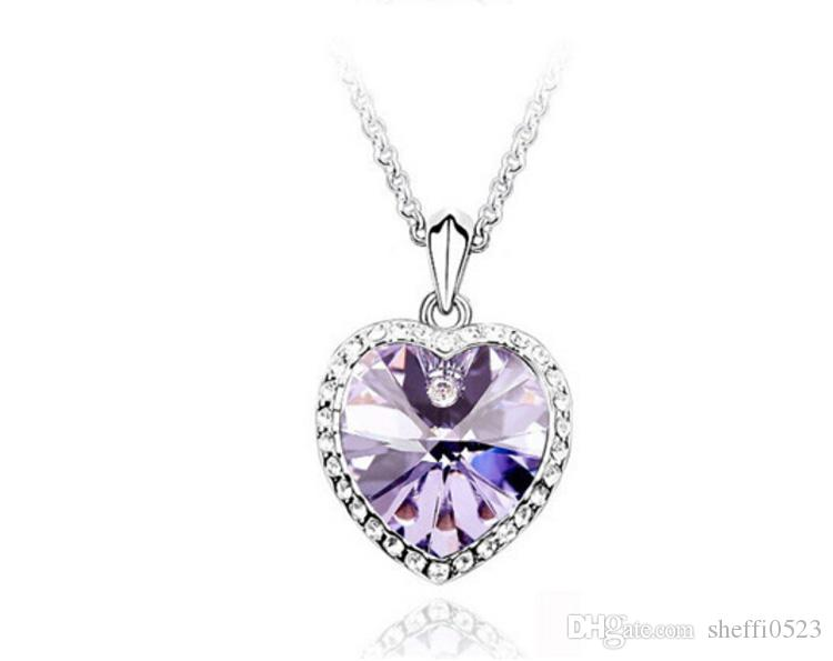 Corazón de la manera Collar Colgante de Cristal Austriaco Collar de Cadena swarovski elementos joyería barato collar Para Mujeres 8084
