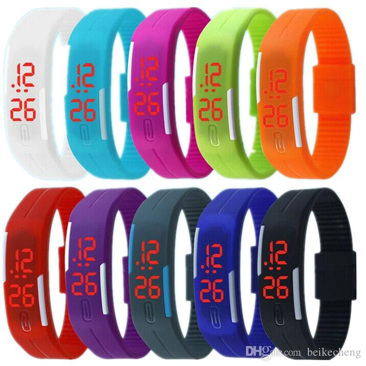 Wholesale-Mix 14colours Sports led Digital Display touch screen watches Rubber belt silicone bracelets Wrist watches LT011