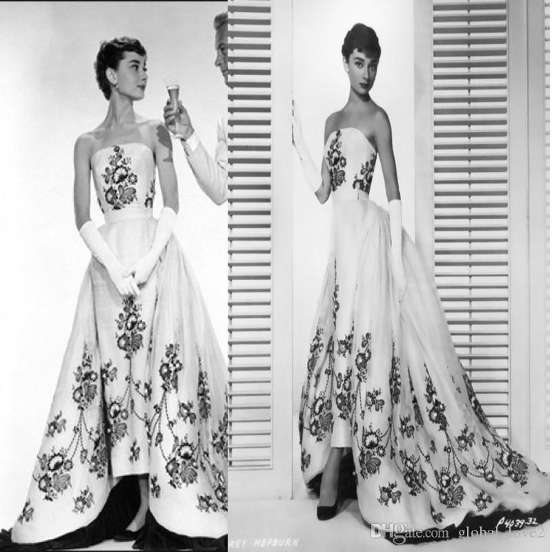 Großhandel Romantische Audrey Hepburn Schwarzweiss Hochzeits Kleider ...