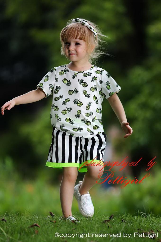Pettigirl New Summer Girls Clothing Sets With Pineapple Top And Stripe Shorts Babies Clothes For Children Wholesale Clothing CS80702-13