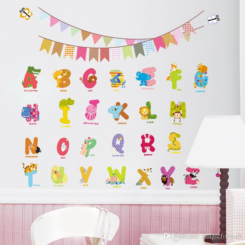 New Cartoon English Letter Wall Sticker Decal Kids Boys Girls Room Wall Art Mural Poster Decor Cute Alphabet Colorful Flags Wall Applique