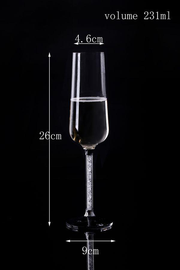 crystal champagne flutes a pair with crystal base and moving crystal stem 26cm height red wine toasting glass - Crystal Champagne Flutes