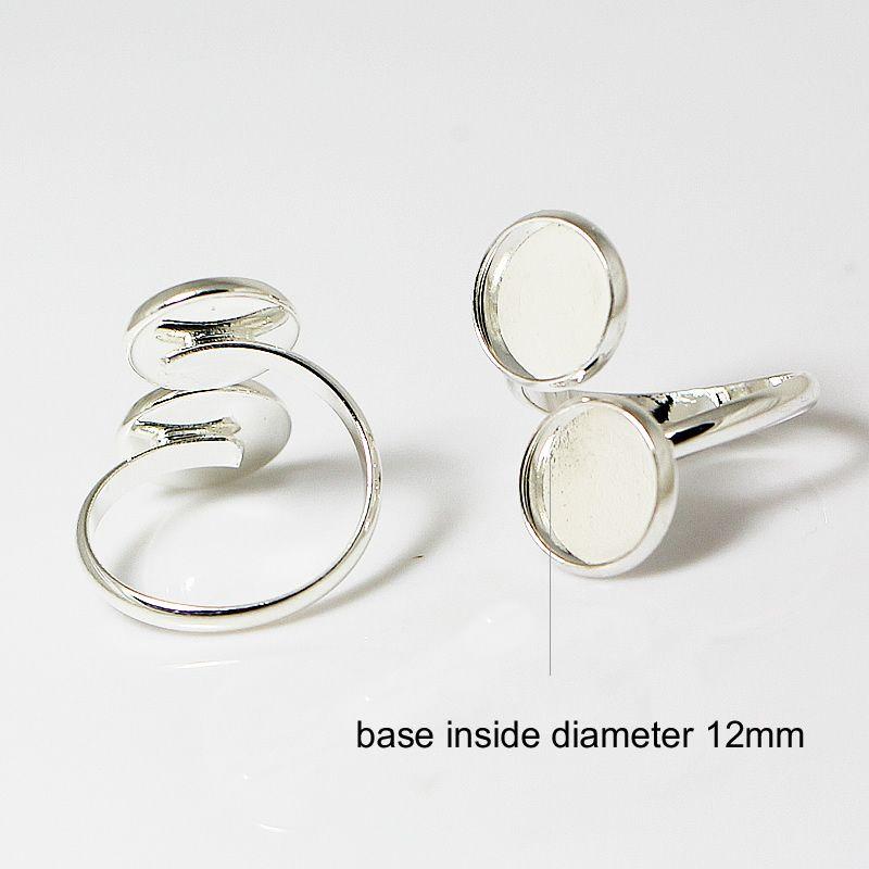 Beasnice 빈 반지 설정 도매 라운드 12mm 둥근 유리 카보 숑 도매 둥근 베젤 트레이 2 개 무료 배송 ID 26996