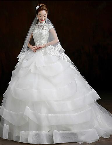 2016 New Hot Fashion Elegant Ball Gown White Court Train High Neck Short Sleeves Lace/Organza Luxurious Wedding Dresses 200