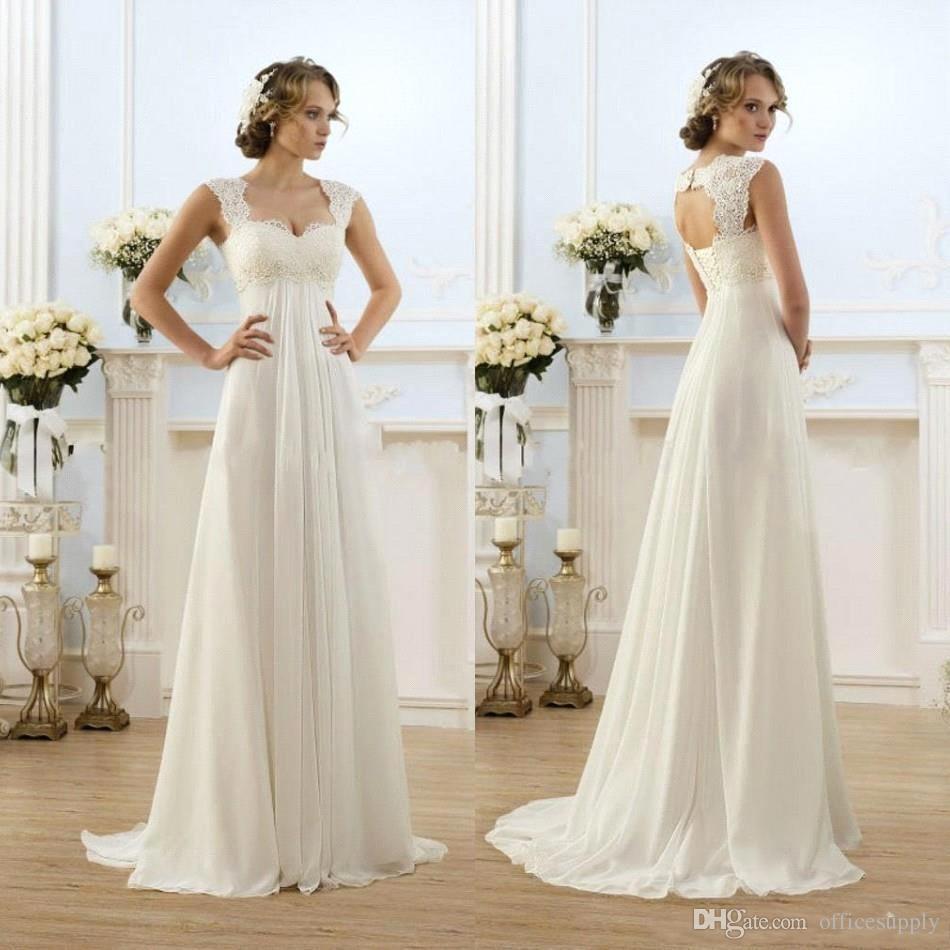 2021 New Cheap Bohemian Wedding Dresses Beach Sweetheart Capped Sleeves Empire Waist Lace Chiffon Long Beach Bridal Gowns