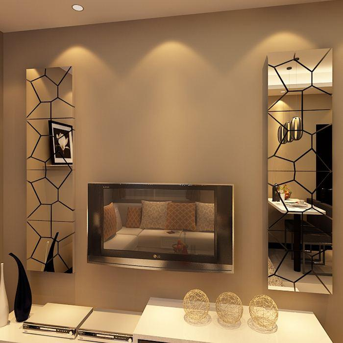 acheter nouvelle arriv e miroir tv stickers muraux 3d miroir motifs abstraits g om triques. Black Bedroom Furniture Sets. Home Design Ideas