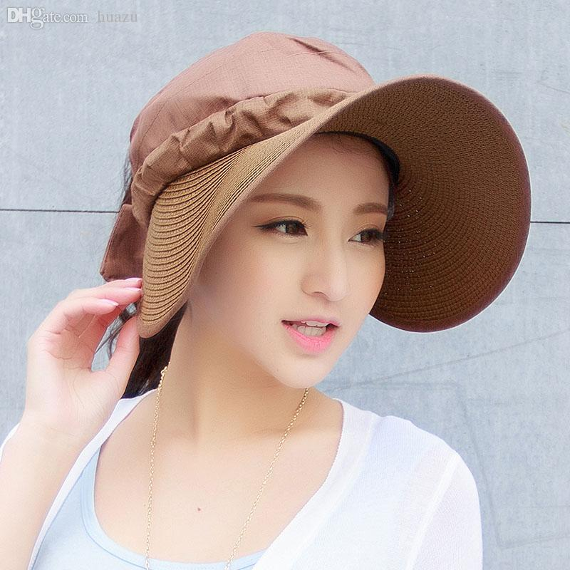 Wholesale-ladies Women Summer Outdoor Empty Top Large Wide Brim Sunbonnet  Anti-uv Floppy Sun Beach Hat Cap Straw Cap Suit Straw Baseball Cap Cap Bow  Online ... f110fbd16e0b