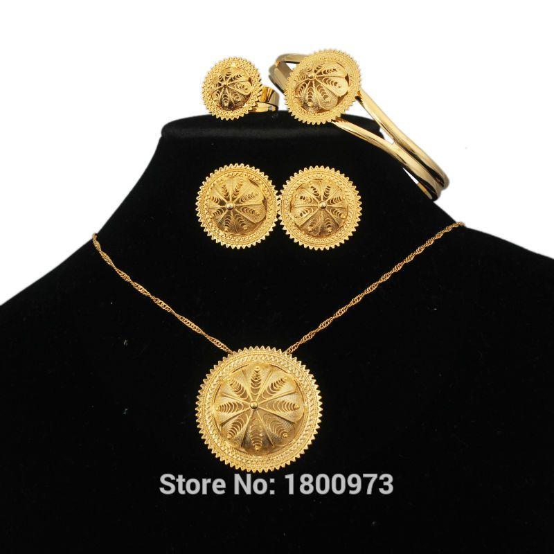 2018 Romantic Ethiopian 18k Gold Plated Jewelry Bridal Elegant
