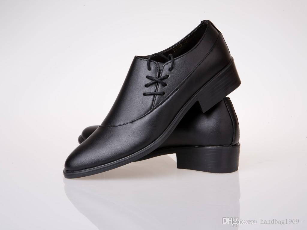 Side Lace Up Black Dress Shoes Cool Men Shoes Leather Groom Casual