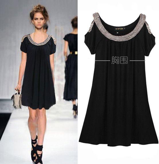 XL-3XL Ladies Plus Size Black Beaded Short Sleeve Stretchy Dress European  Style Off-shoulder Beading Loose Summer Dresses with Belt Extra Large Size  Beading ...