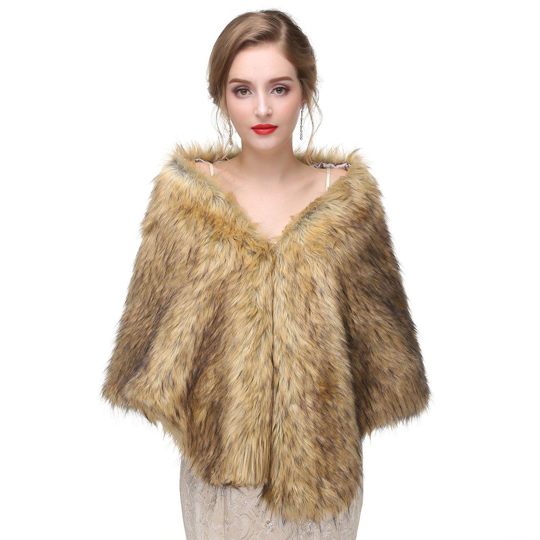 2019 Bridal Wraps White Bridal Faux Fur Wrap Shrug Stole Shawl Cape