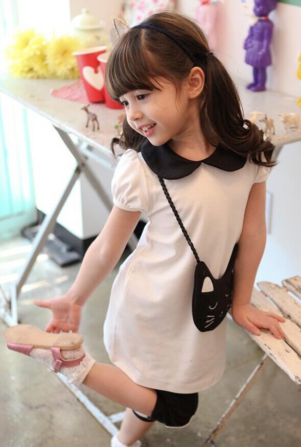 Kids Clothes Sets 2018 New Arrival Summer Cat Dress + Short Leggings Girls Suits 3 Colour Pure Cotton Children Sets 100-140 TR153