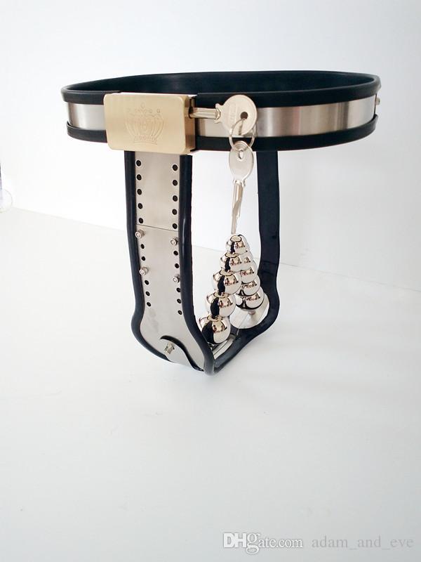 Dispositif de chasteté pour femmes en acier inoxydable Réglable Modèle-T Dispositifs de retenue de ceinture de chasteté SM Bondage avec Pantalon de chasteté à prise vaginale anale
