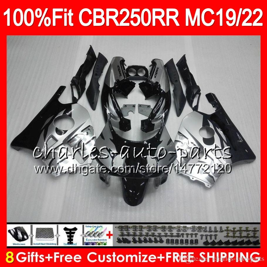 Инъекции для Хонда CBR 250RR CBR250RR серебро черный 88 89 90 91 92 93 96HM9 CBR250 MC19 MC22 250 рублей 1988 1989 1990 1991 1992 1993 обтекатель