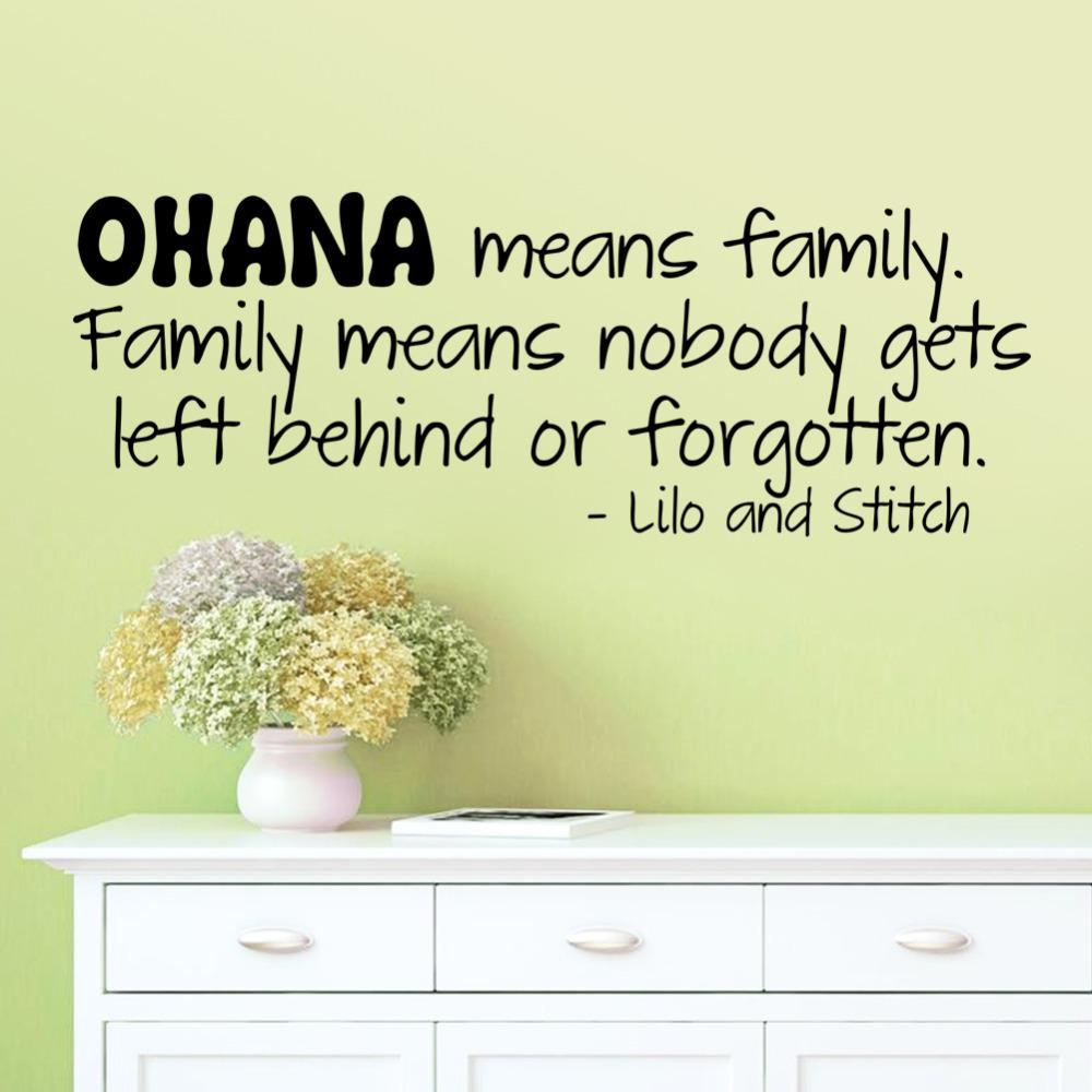 Ohana Means Family Wall Sticker Quotes Vinyl Wall Decal Art Mural ...