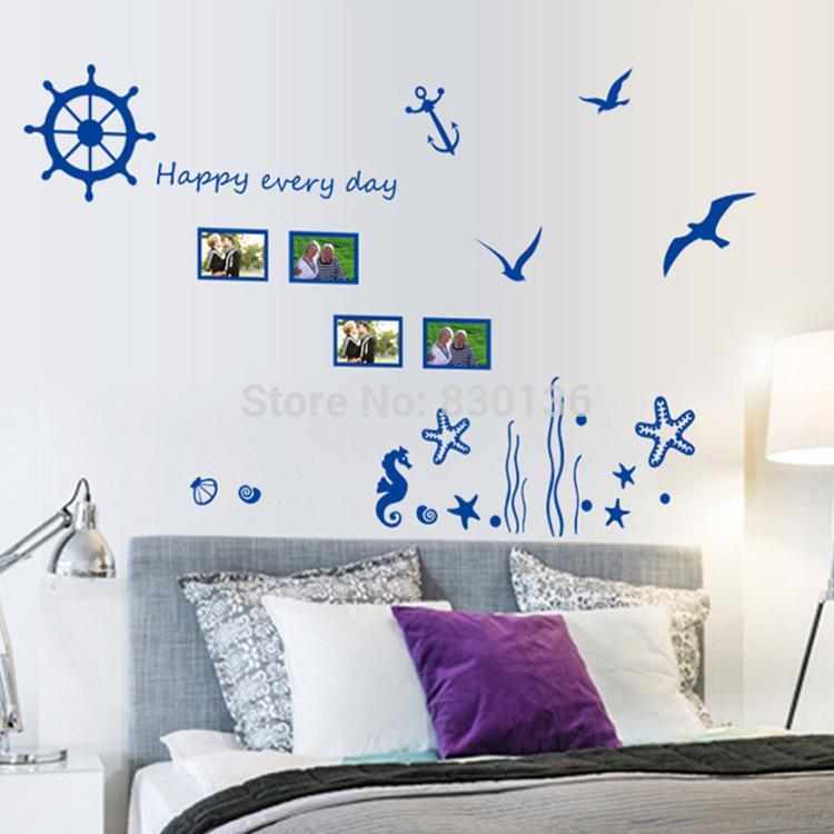 New Arrive Blue Sea Underwater World Seagull Wall Stickers For Living Room Children Kids Bed Sticker Home Decor