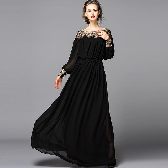 New 2016 Black Dress Sexy Fashion Women Luxury Beading Diamonds Floor Length  Maxi Long Party Dresses Casual Purple Dresses For Juniors Long Sleeve White  And ...