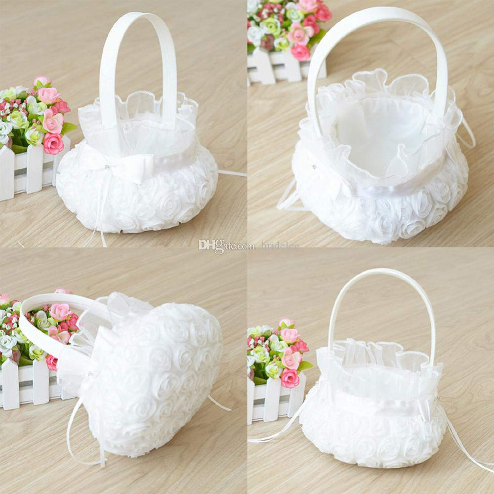 2016 Wedding Ceremony Party Love Case Satin Bowknot Rose Flower Basket for Women Girl DIY Home Decoration Storage Bag Container
