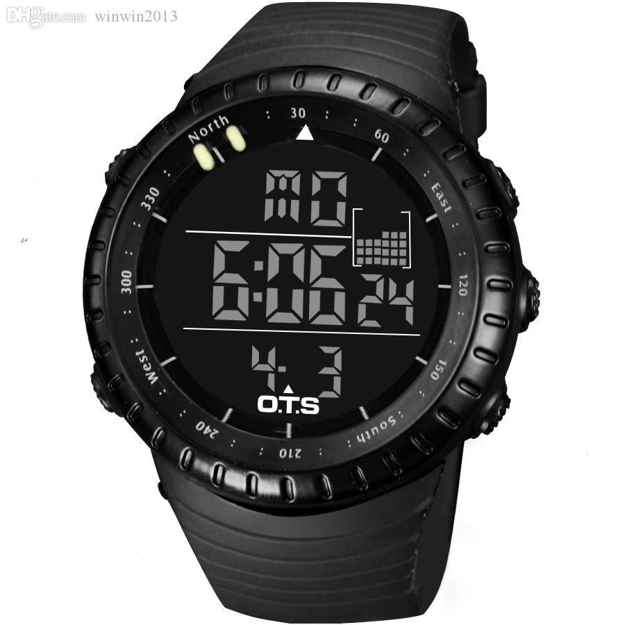 Wholesale-Top  OTS Cool Black Mens Fashion Large Face LED Digital Swimming Climbing Outdoor Man Sports Watches Christmas Boys Gift
