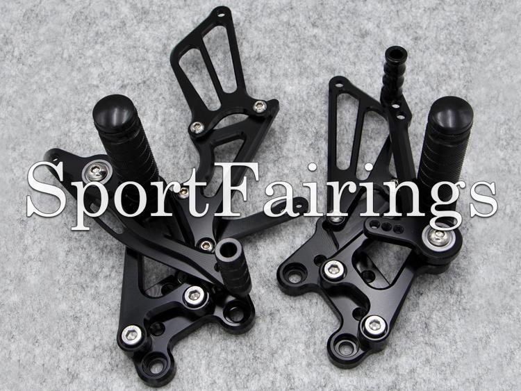 Juego de estriberas ajustables traseras del reposapiés del conjunto trasero de plata negra ajustable para Honda CBR600RR 03 04 05 06 CBR1000RR 04 05 06 07 Motocicleta