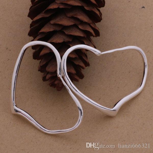 Мода производитель ювелирных изделий 40 шт. много большой кривой сердце серьги стерлингового серебра 925 ювелирные изделия завод цена мода блеск серьги