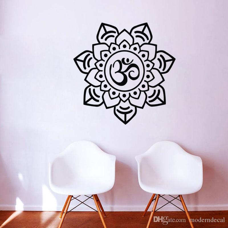 OM Sign Mandala Wall Stickers Vinyl Removable Home Decor Wall Decals  Bedroom Flower Pattern Wall Murals