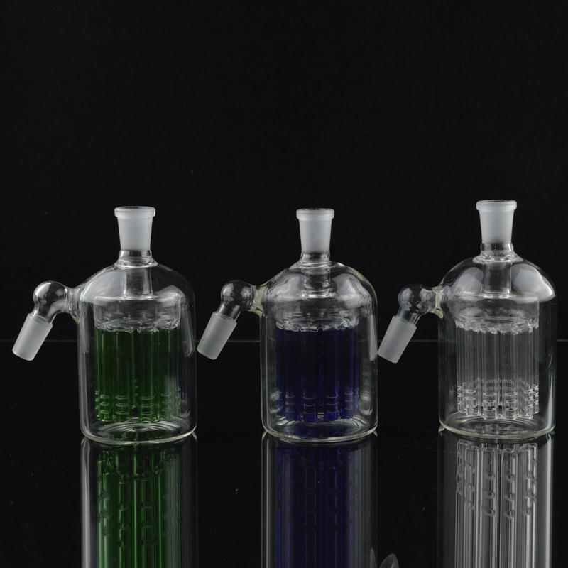 Glass Ash Catcher 18.8mm 14.4mm Percolator Water Pipes 11 Arm Tree Perc Blue Green and Clear Ashcatcher Recycler Oil Rigs Bongs