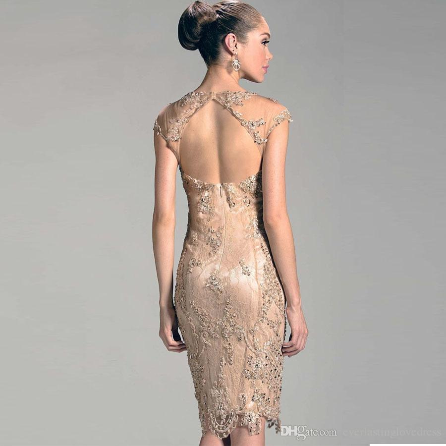 Short Mother of the bride Groom Dresses For Beach Wedding Evening Party Womens Sheer Neck Tulle Beaded Open Back Godmother