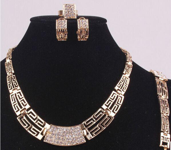 14 K Ouro Enchido De Cristal Austríaco Antigo Egípcio Cultura Nupcial Do Casamento Do Partido Colar Pulseira Brincos Anel Set Jóias