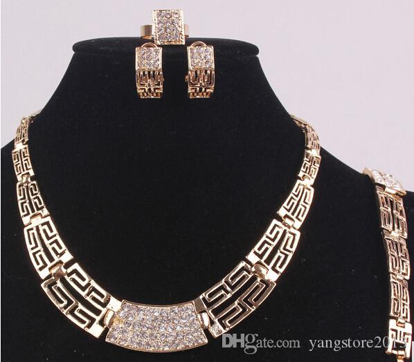 14K Gold Filled Austrian Crystal Ancient Egyptian Culture Wedding Bridal Party Necklace Bracelet Earrings Ring Jewelry Set